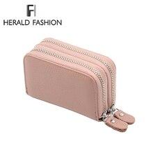 Herald mode femmes en cuir véritable unisexe entreprise support de carte RFID portefeuille carte de crédit bancaire étui ID détenteurs femmes porte-monnaie