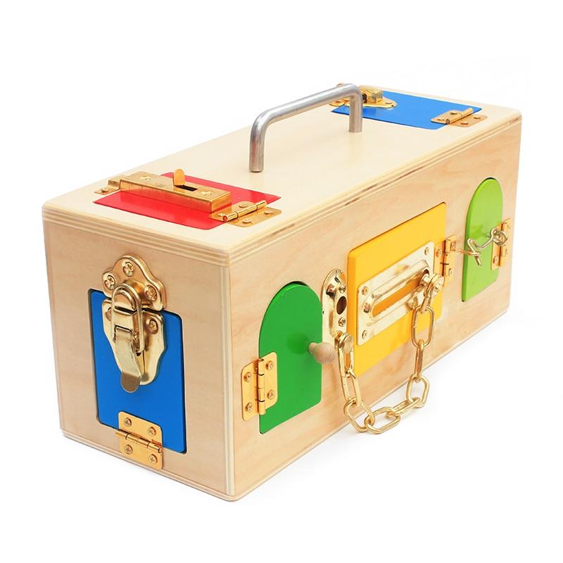 High Quality Montessori Materials Lock Set Lock and Key Tool sets 9 Locks Latch Unlock Box Set Tools Toys Early Educational Gift