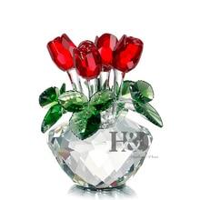 H & D-Figurine de Rose rouge   Bouquet de printemps, fleurs en verre de cristal, coffret cadeau