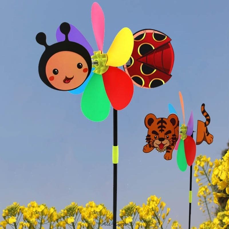 Colorful Cartoon Animal Windmill Wind Spinner Home Garden Yard Outdoor Decor