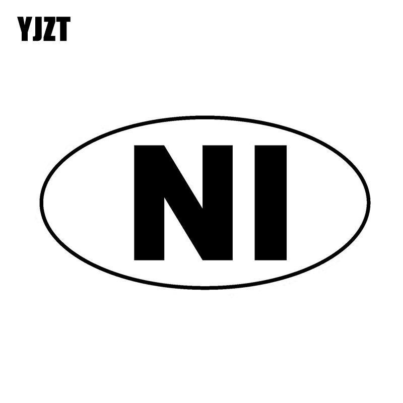 YJZT 13.4CM * 7.1CM Código Do País NI Nicarágua Oval Decalque de Vinil Adesivo de Carro Preto/Prata C10-01754