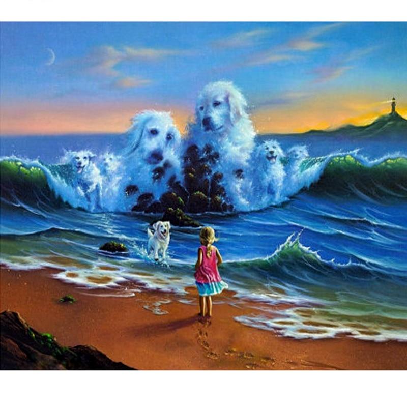 Полная Алмазная вышивка, собаки в волнах для любителей собак 5D алмазная живопись 3D Рукоделие Алмазная мозаика, поделка подарками