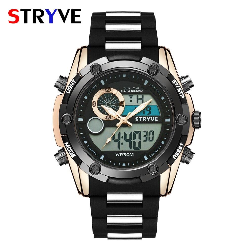 Esporte à Prova Horário de Quartzo Verão Nadar Relógio Dstryágua Stryve Marca Militar Heavy Dial Masculino Duplo Fuso Digital Horloges Mannen 30m
