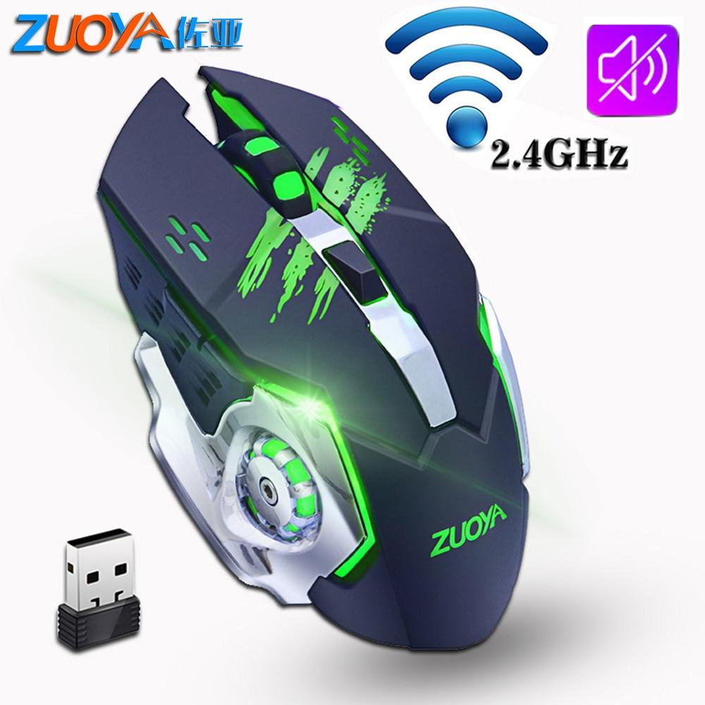 Ratón inalámbrico silencioso para juegos ZUOYA de 2,4 GHz, ratón de retroiluminación recargable de 200 dpi, ratón de juego óptico LED USB para ordenador portátil