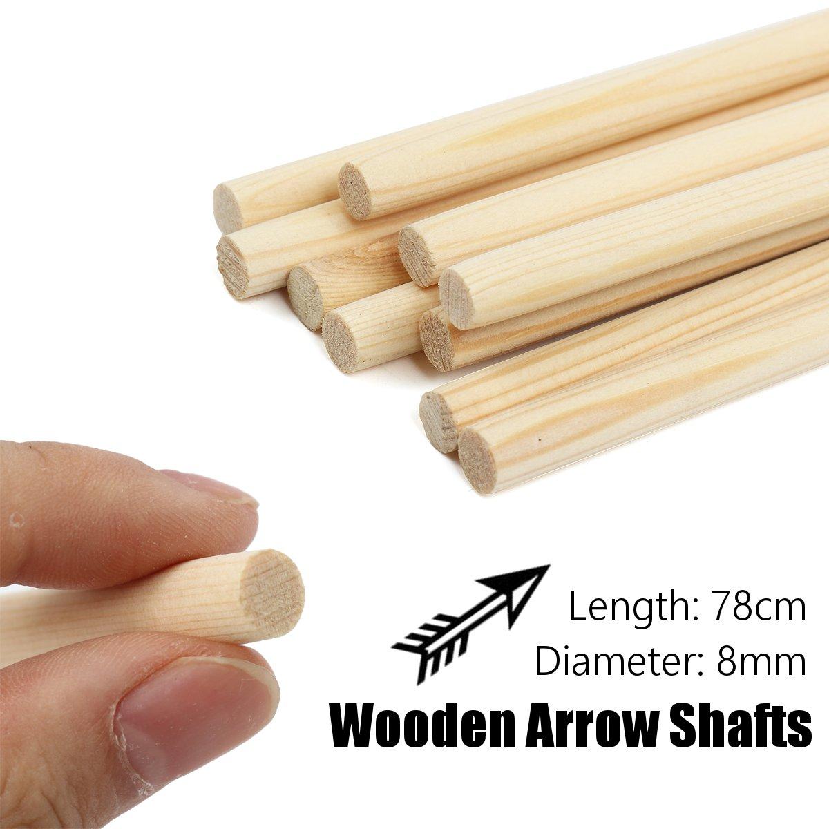10 pçs/set 8mm de madeira y eixos seta diy artesanal arco alvo madeira y eixos de seta ao ar livre caça acessórios 78 cm