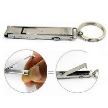 Acier inoxydable Ultra-mince pliable main coupe-ongles coupe tondeuse porte-clés équipement de Camping de haute qualité