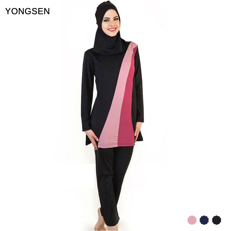 Yongsen muçulmano mulheres spa roupa de banho esportiva burkinis maiô islâmico rosto cheio hijab natação beachwear maiô