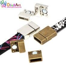 OlingArt 20*13mm 4 pièces/lot fermoirs magnétiques en cuir couleur argent antique résultats de bijoux bricolage Fit 10MM cordon/bracelet