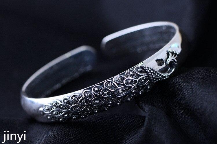 KJJEAXCMY takı, 999 Gümüş Gümüş Tavuskuşu gümüş gümüş bilezik geri eskilerin tarzında.