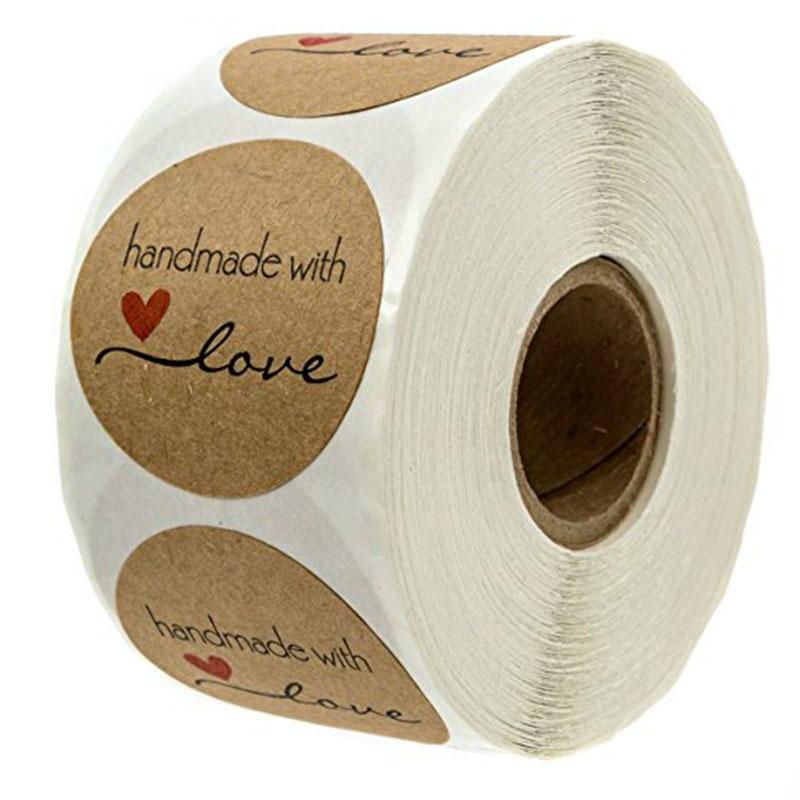 500Pcs 1 Inch Round Natural Kraft Stickers Handmade with Love