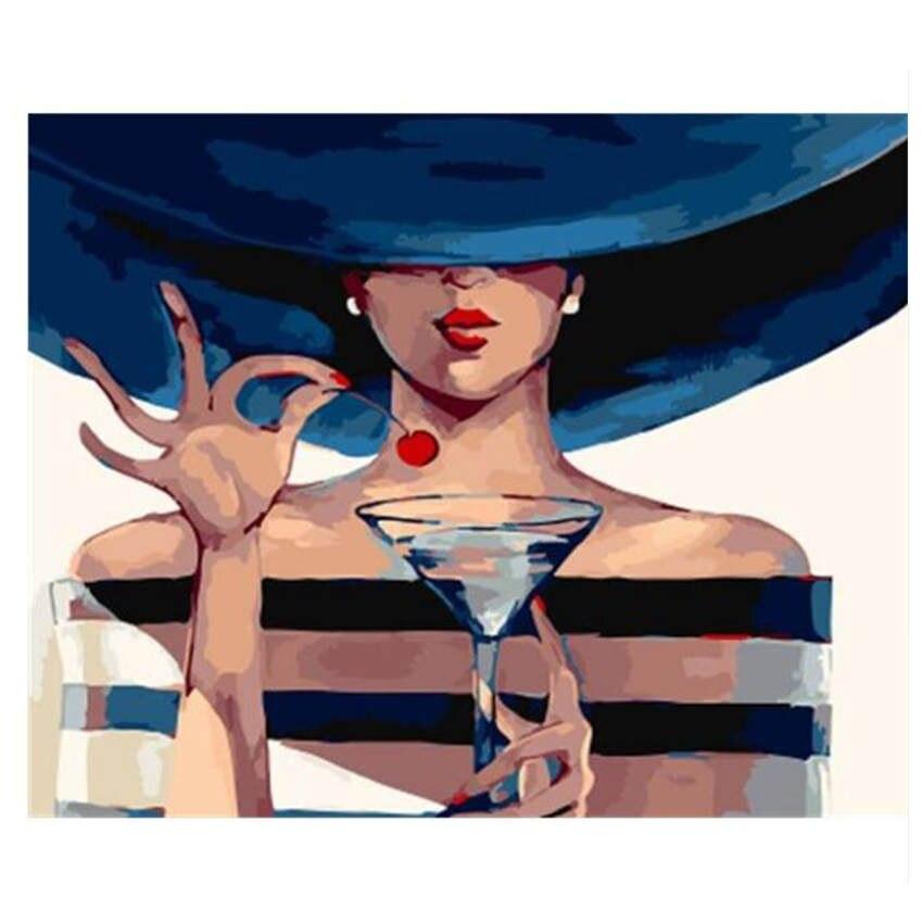 Pinturas al óleo de lienzo pintadas a mano, Kits de pintura por números, pintura misteriosa para mujer con números