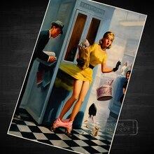 كشك الهاتف دبوس حتى فتاة البوب الفن الدعاية الرجعية Vintage كرافت المشارك قماش DIY بها بنفسك الجدار ملصق شريط المنزل الملصقات ديكور