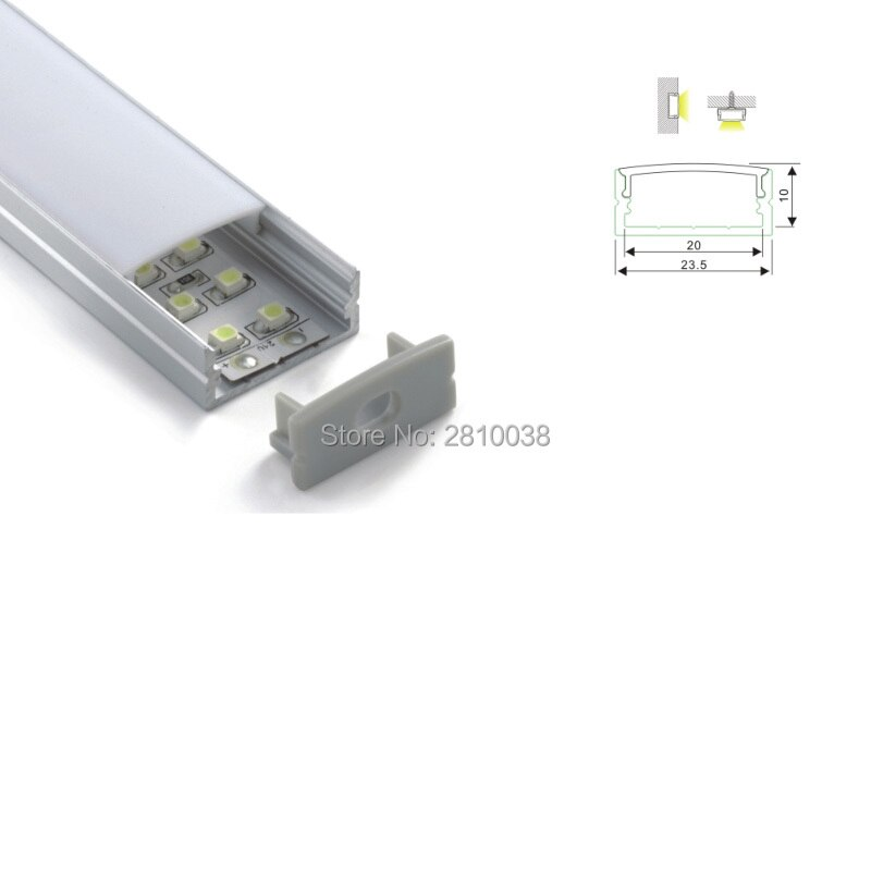 500 X 1M Sets/Lot 24mm wide cover line led aluminum profile and U-shape 10mm deep extruded led housing for surface mounted lamp