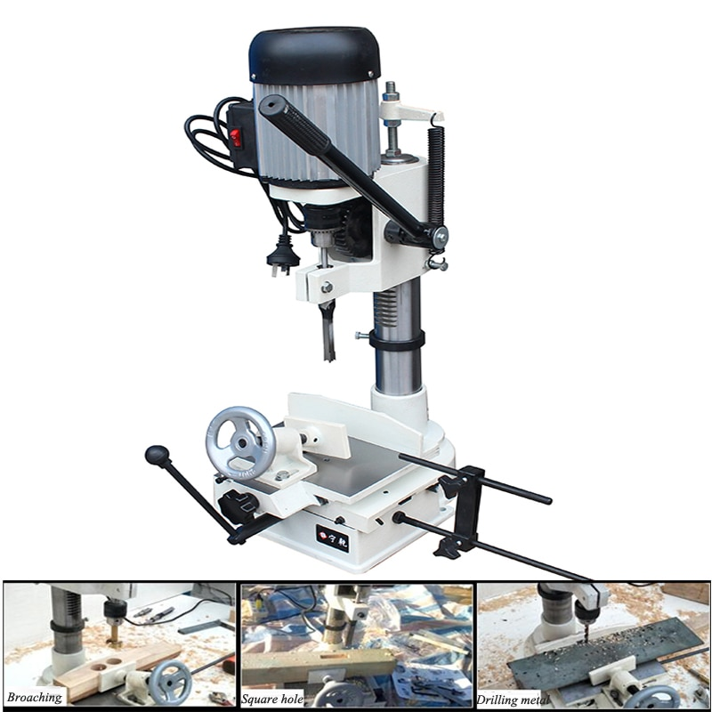 Woodworking Tenoning Machine 220V Punching Square Hole Multi-function Eye Drilling JCM361A