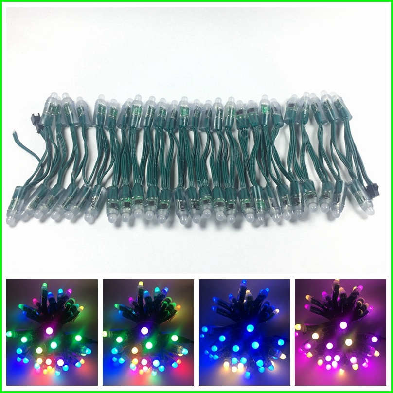 100pcs WS2811 IC RGB Led Module String DC5V DC12V 12mm Green wire Waterproof IP68 Digital Full Color LED Pixel Light