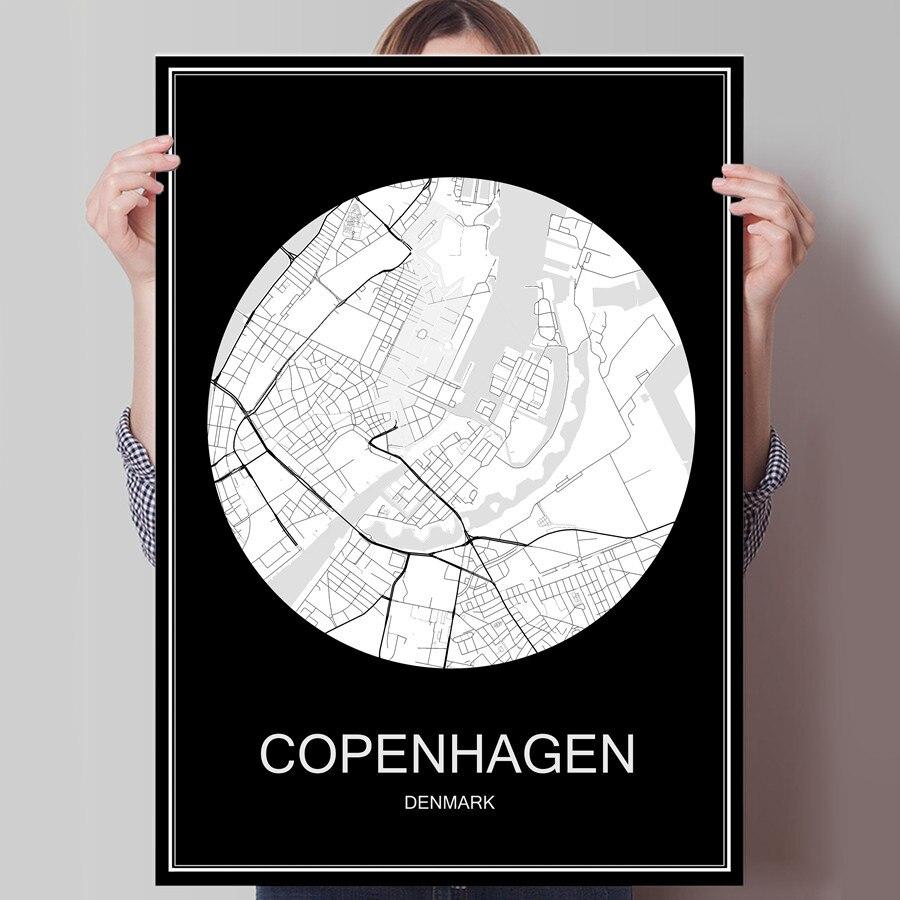 COPENHAGEN Denmark Famous World City Map Print Poster Print on Paper or Canvas Wall Sticker Bar Pub Cafe Living Room Home Decor