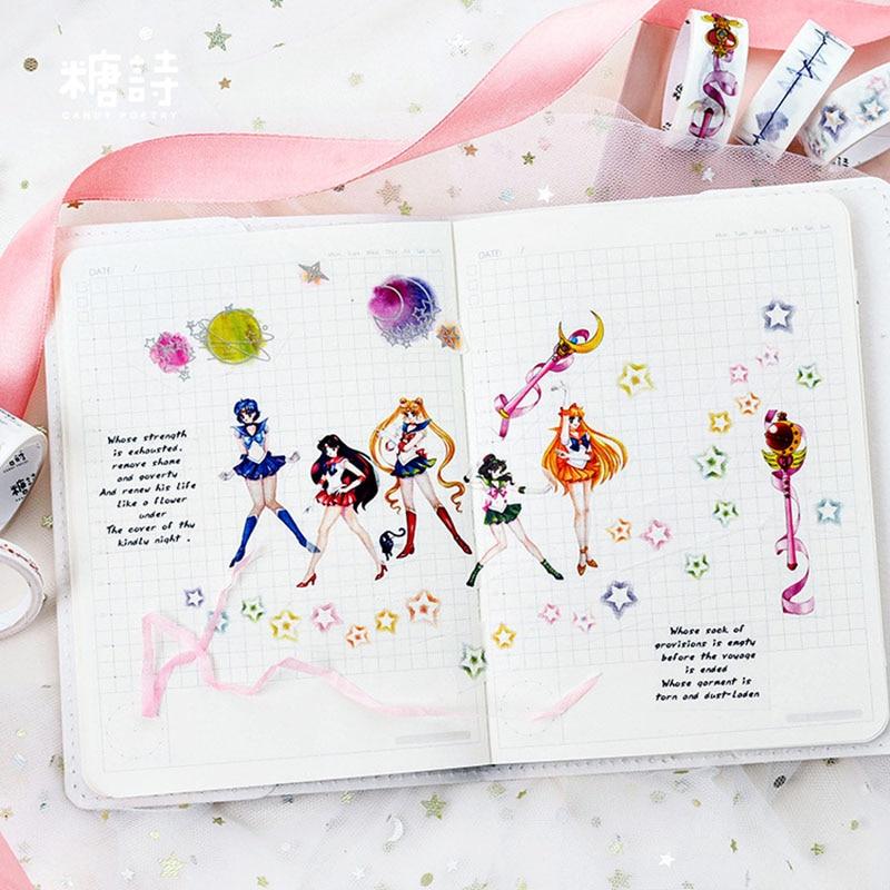 8 pçs/lote Masking Tape Momo brinquedos anime traje sailor moon