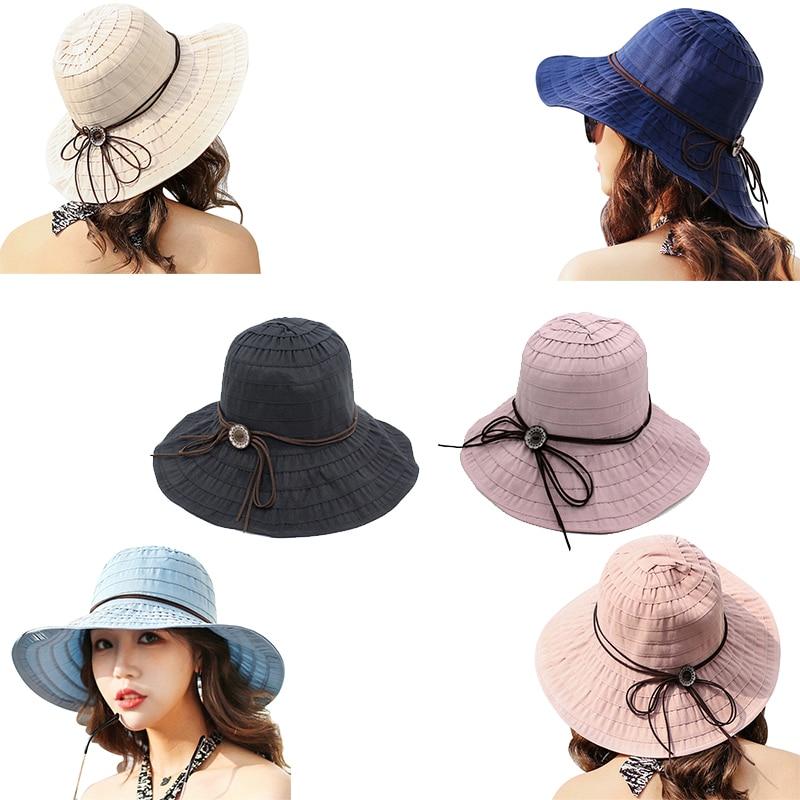 Hot Foldable Summer Women Casual Sun Hat Wide Brim Sunscreen Sun Hats Sweet Beach All-match Bow-knot
