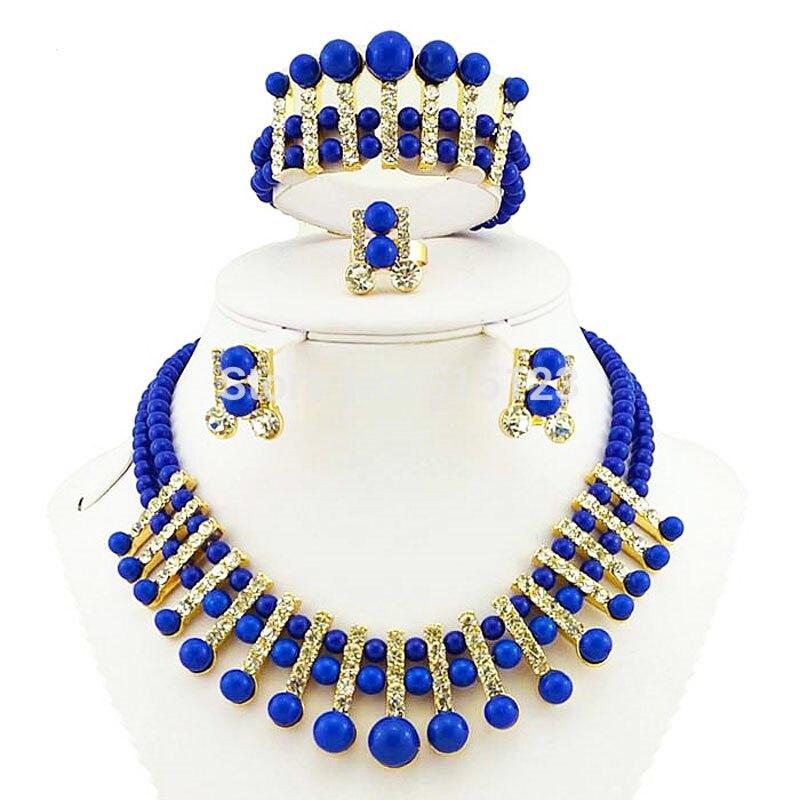 Colar africano grânulo conjuntos de jóias de ouro africano conjunto de jóias de casamento por atacado africano contas pulseira