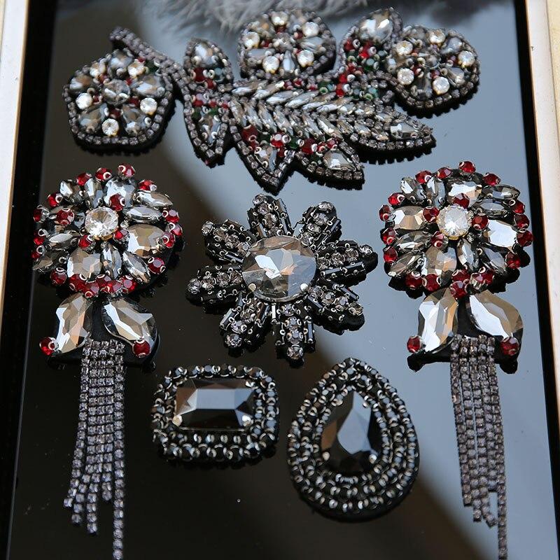Parches bordados tessel de lujo para ropa con diseño de flores, parche de jeans, parches de cristal cosidos para ropa