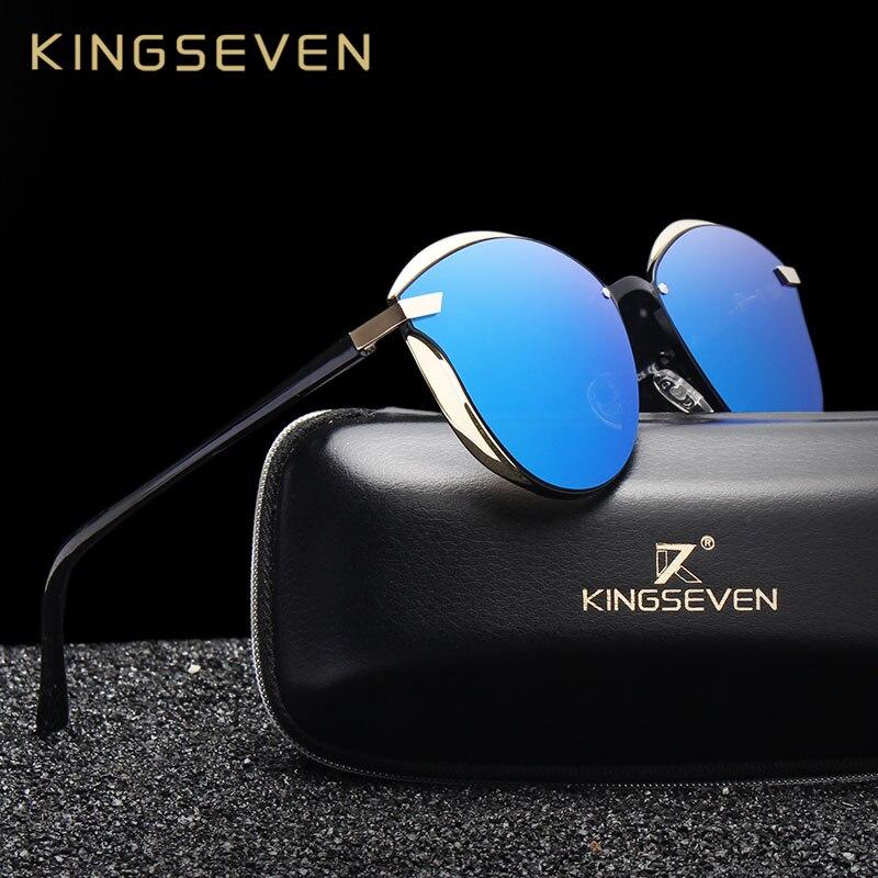 Kingseven óculos de sol feminino polarizado, óculos de sol estilo olho de gato com lentes polarizadas, acessório original