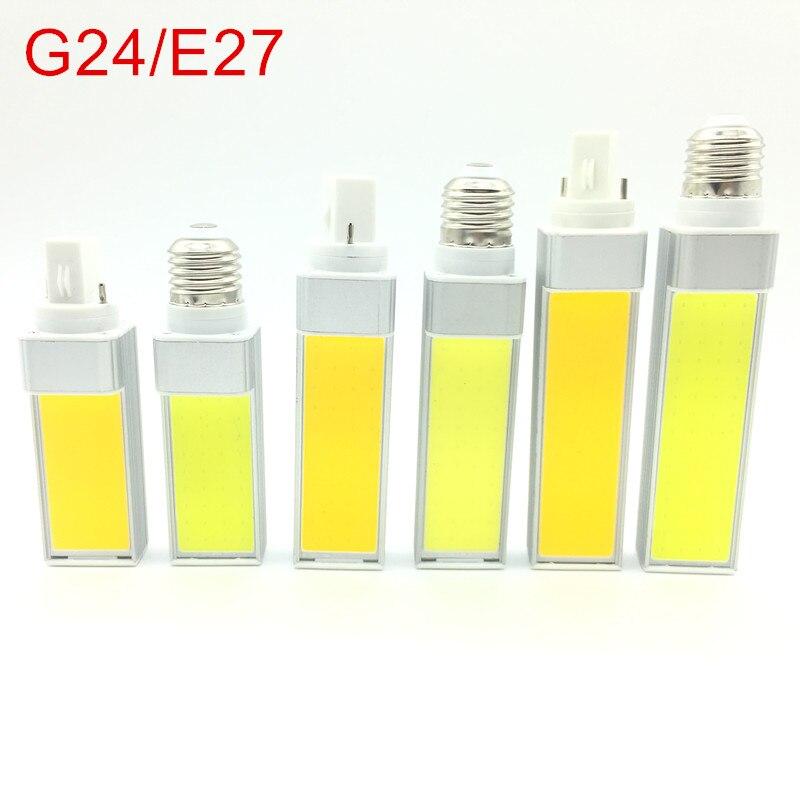 Lâmpadas led 10 w 12 w 15 e27 g24 220 v/110 v led lâmpada de milho luz cob spotlight 180 graus AC85-265V luz de plugue horizontal