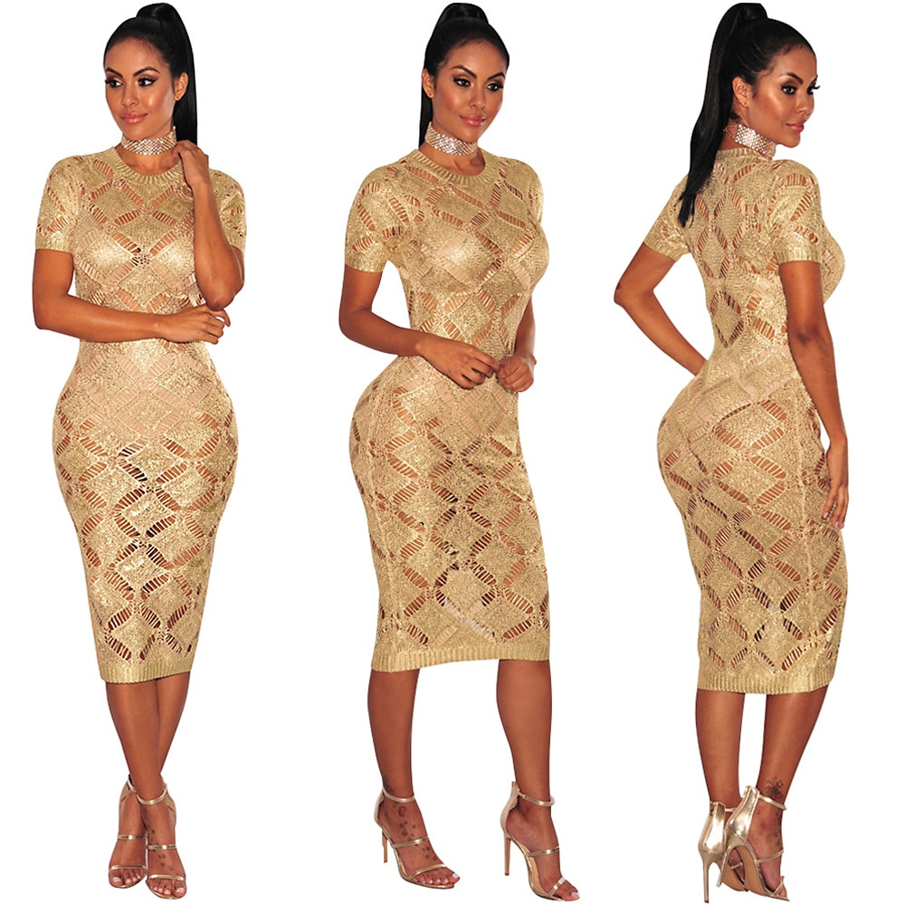 2018 new hot  women Sexy rose O-Neck gold knit dress Knee-Length