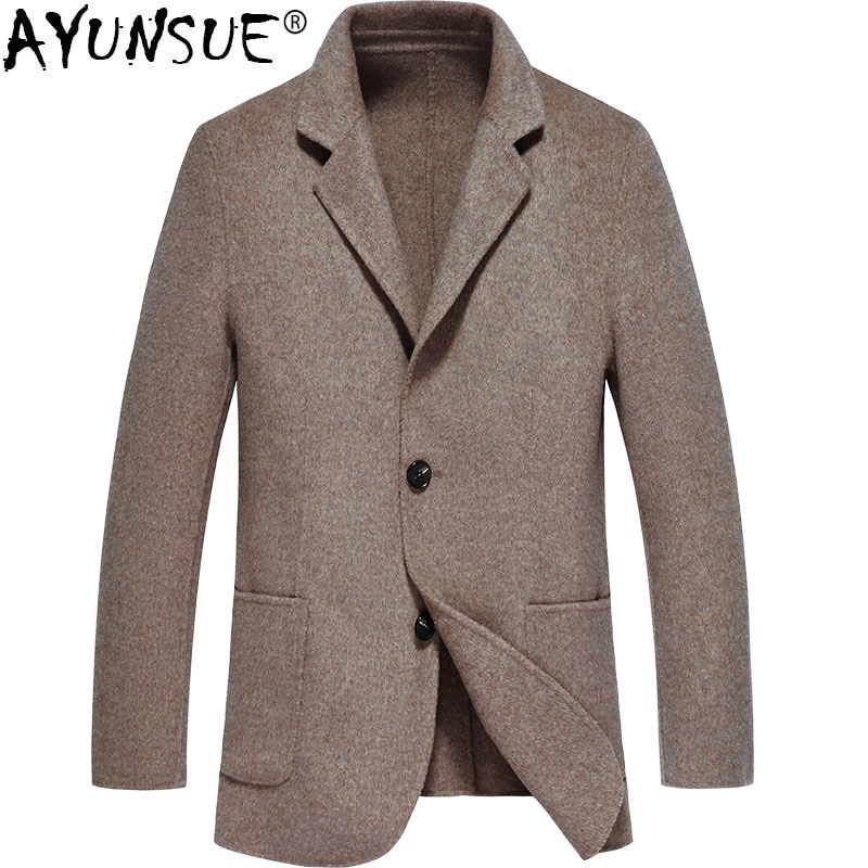 Ayunsuit-abrigo de lana para Hombre, chaqueta de otoño Primavera, abrigo negro, Abrigos...