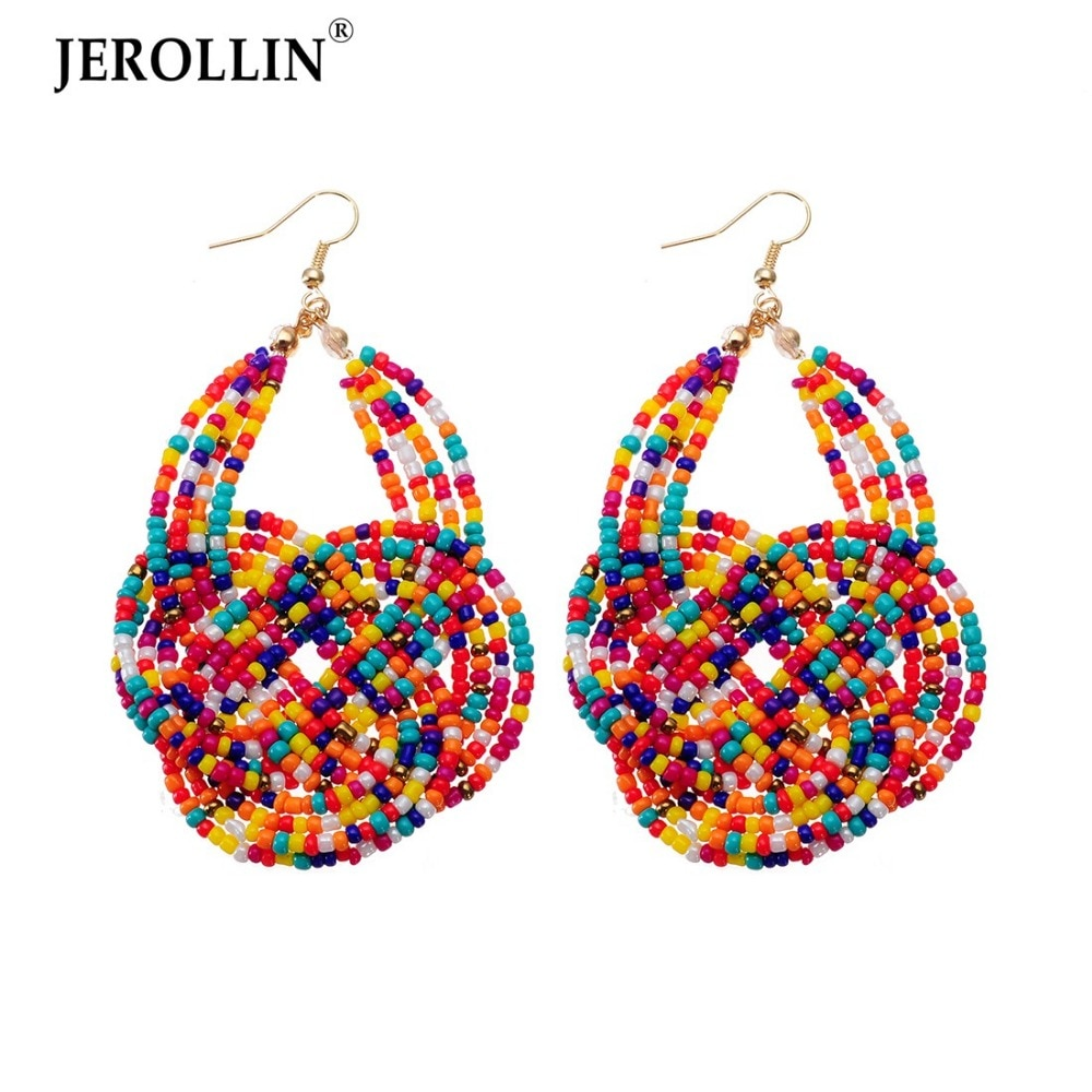 JEROLLIN Fashion Women Jewelry Handmade Resin Beads Cheap Bohemia Statement Dangle Drop Hook Earrings