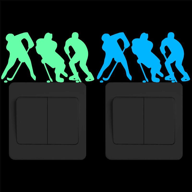 Pegatinas para jugadores de Hockey que brillan en la oscuridad, pegatinas de vinilo deportivas luminosas de dibujos animados para la pared, decoración del hogar, pegatinas DIY para dormitorio infantil