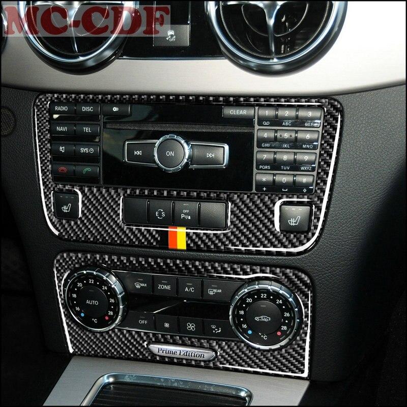 Estilo de coche para Mercedes Benz GLK300 260, 350, 2013-2015 de fibra de carbono del tablero de la consola Central CD Panel de Control de la cubierta trim