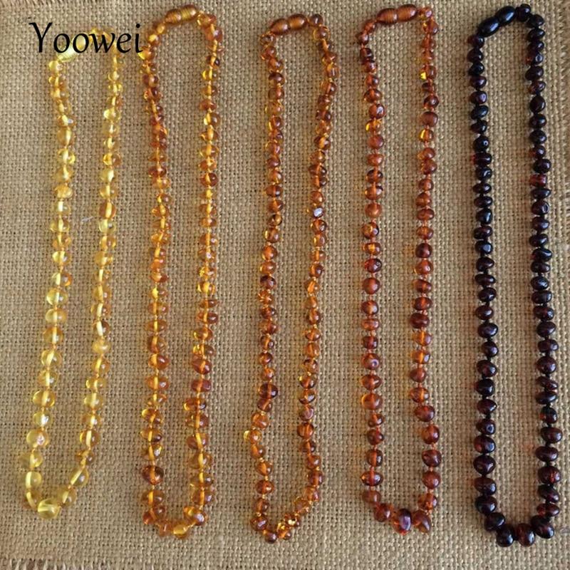 Ожерелье Yoowei из натурального янтарного стекла, для детей и взрослых, 100% натуральное, неравномерное, в стиле барокко, оригинальное, Янтарное, ...