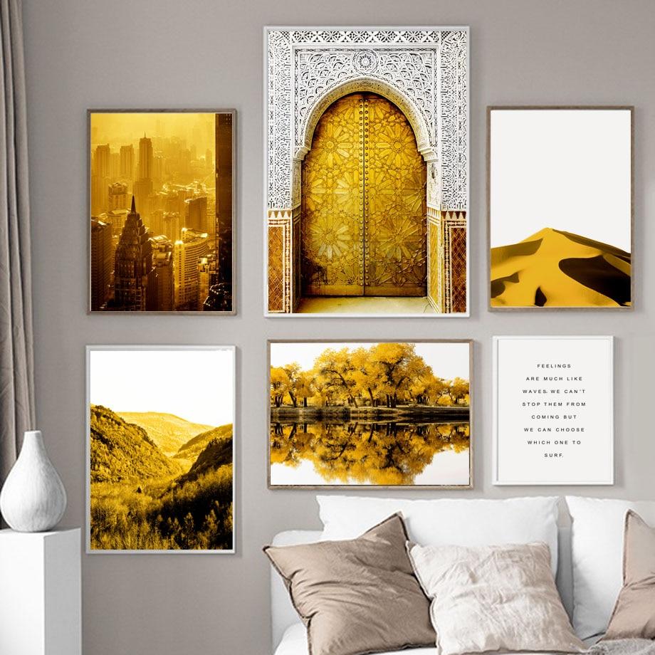 Золотые восточные ворота Нью-Йоркское озеро настенная живопись холст скандинавские постеры и принты украшение салона настенные картины дл...