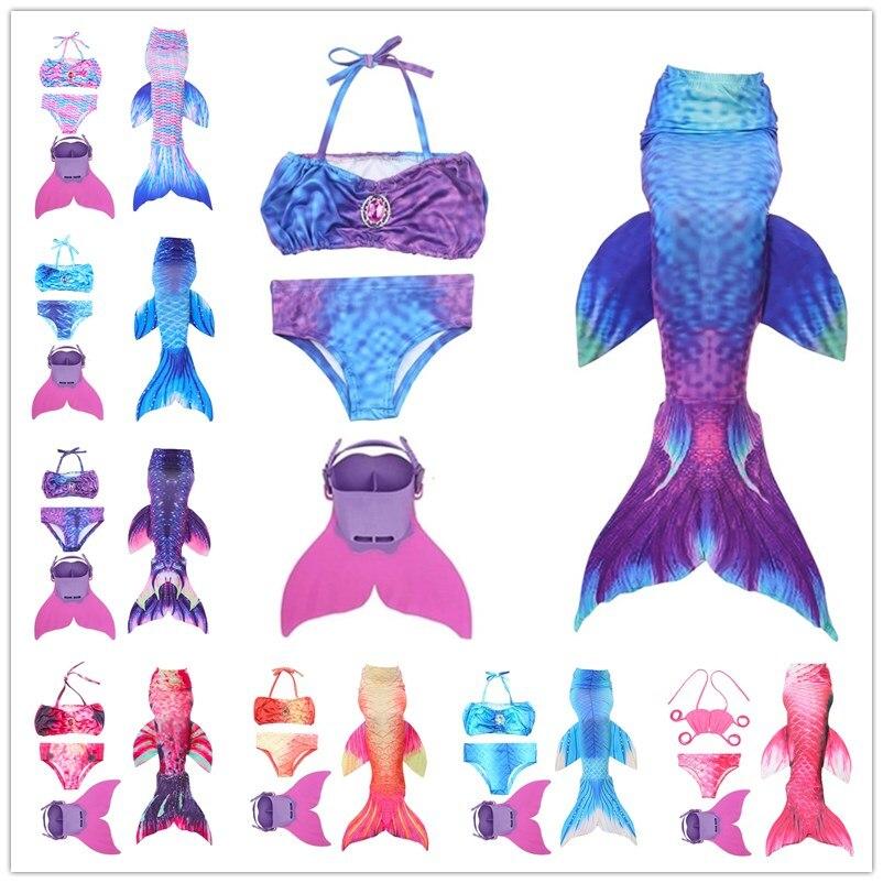 Swimable cauda sereia biquini 3 pçs + monofin vestido de princesa meninas criança cos