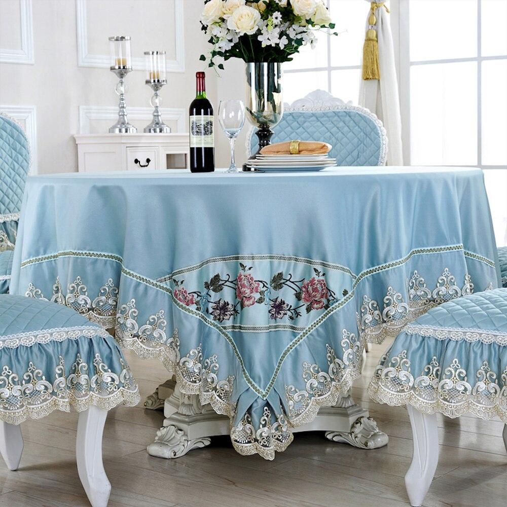 Mantel de mesa hecho a medida Jacquard cuadrado redondo 90/130/150/180/200/220 cm silla decorativa de encaje azul lago