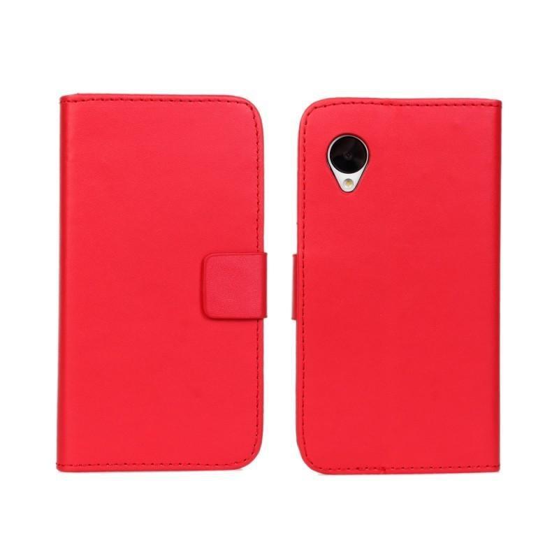 Funda de cuero de PU con diseño de Cartera Verde rojo para LG Google Nexus 5 E980 funda de lujo para LG Nexus 5