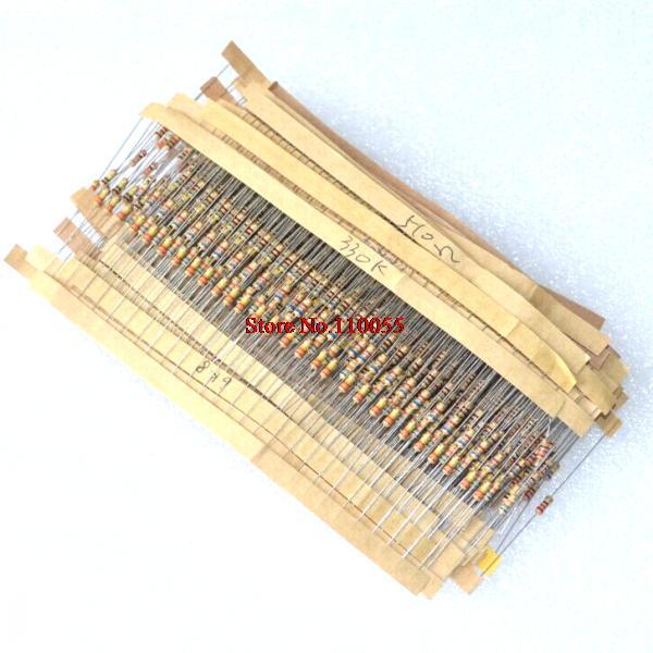 Kit surtido de resistencia de película de Metal de 750 piezas 1% 1/4 W 30 valores (10 Ohm ~ 1 M Ohm) 25 piezas cada valor