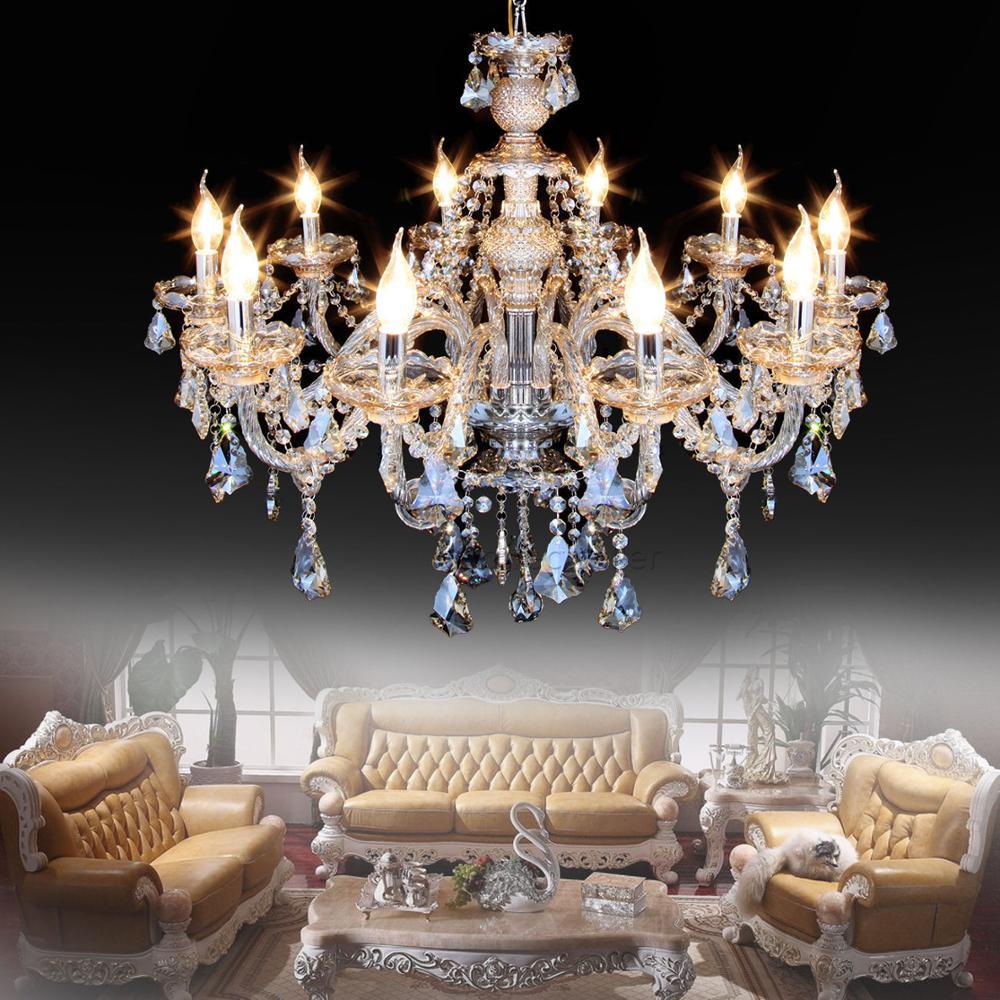 Lámpara colgante de techo de cristal elegante 10 brazos K9