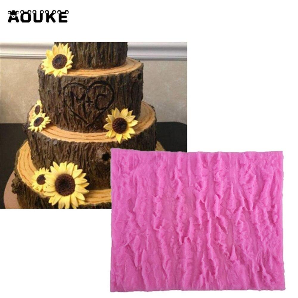 Aouke Baum Rinde Form Form Modellierung Kuchen Dekoration Fondant Schokolade Pudding Cookie Seife Silikon Formen Candy Backen Werkzeuge M023