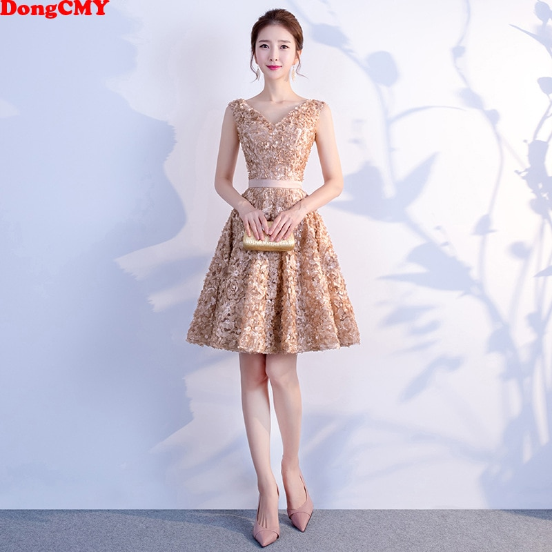 DongCMY kısa Mini seksi kokteyl elbiseleri zarif genç artı boyutu fermuar şampanya rengi parti kıyafeti