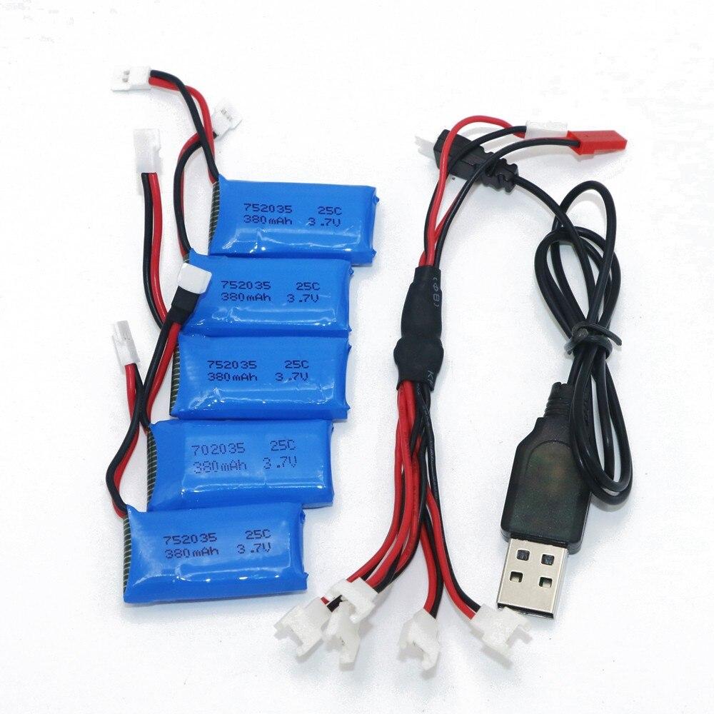 5 uds 3,7 V 240mAh 350mAh 380mAh 500mAh 600mah 650mah Lipo batería...
