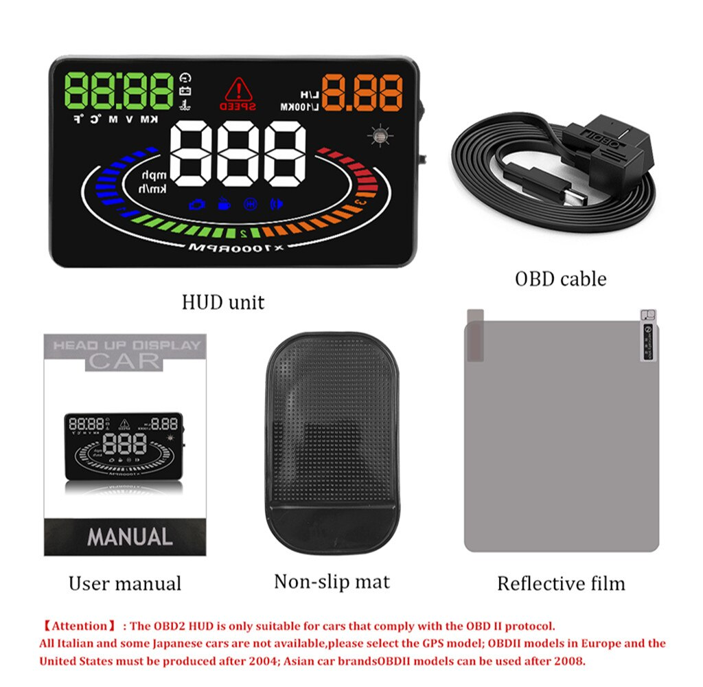 Купить с кэшбэком E300 5.5Inch  HUD OBD2 Head Up Display Car velocidad Windshield Projector Fault Code Elimination Security Alarm  OBD UE MPH KM/H