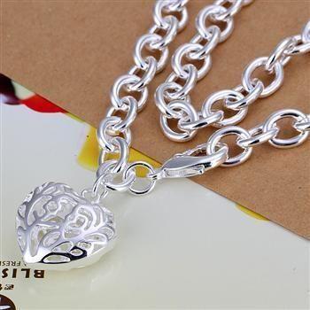 N239 collares de Color plata 925 joyería colgante joyería de moda estéreo corazón collar grueso/camakrta Cmealdla
