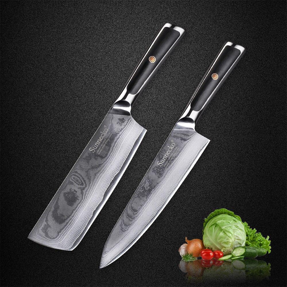 Sunnico 2 قطعة الشيف الساطور طقم السكاكين اليابانية VG10 الأساسية دمشق الصلب المطبخ السكاكين الحلاقة شفرة حادة رائعة G10 مقبض