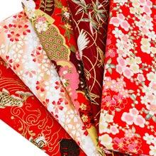 Flora Kimono Bronzed rot stoff Japanischen stil blume muster stoff für kleid und Patchwork Home textile material TJ8692-3