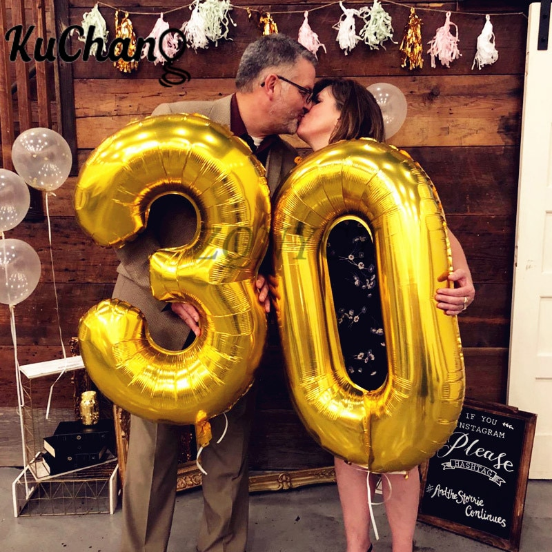 2шт 16/32/40 дюймов розовое золото с цифрой фольги гелиевые шары поздравляем 21 30 50 60 лет взрослых день рождения Декор поставки