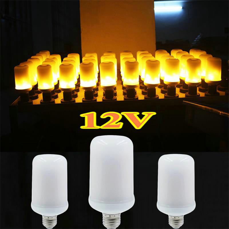 Lámpara LED de llama de 12V E27 E26, bombilla con efecto de llama, lámparas de fuego, emulación parpadeante, luces creativas para decoración navideña y festiva
