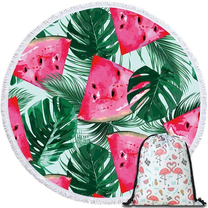 Serviette de plage avec pompon imprimée ananas   Tapisserie murale décontracté pour la maison, canapé, lit, couverture pour les genoux
