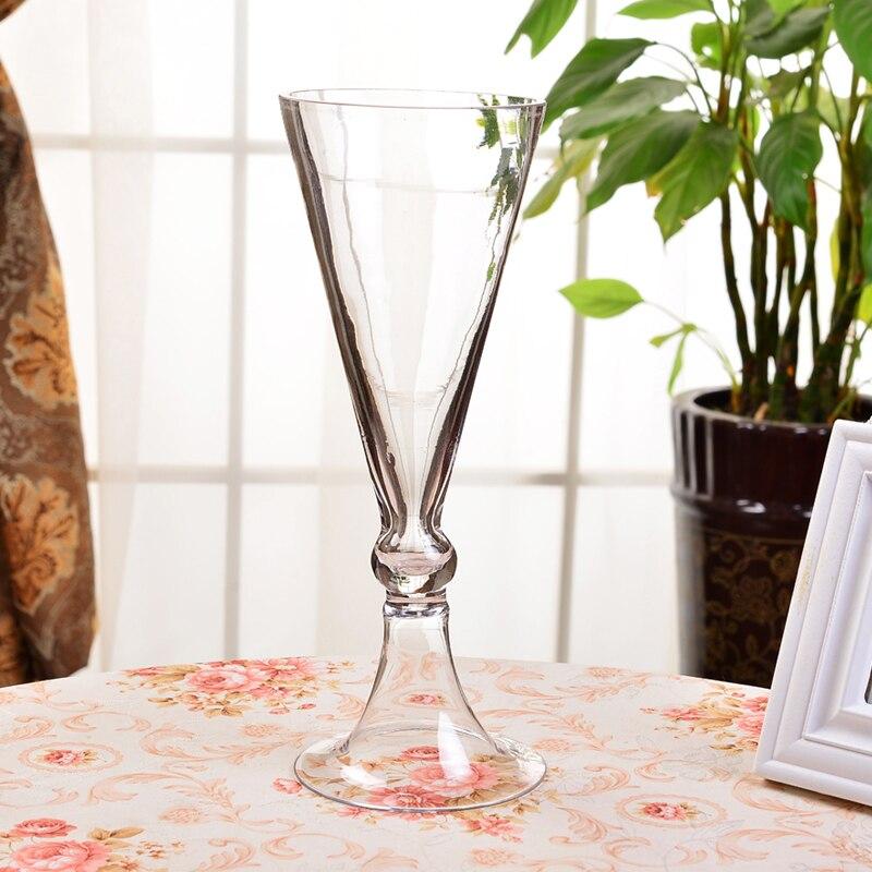 Home Decoration Wedding road decorative glass vase Creative Trumpet shape Flower Vase Tabletop decor glass containers Decoration