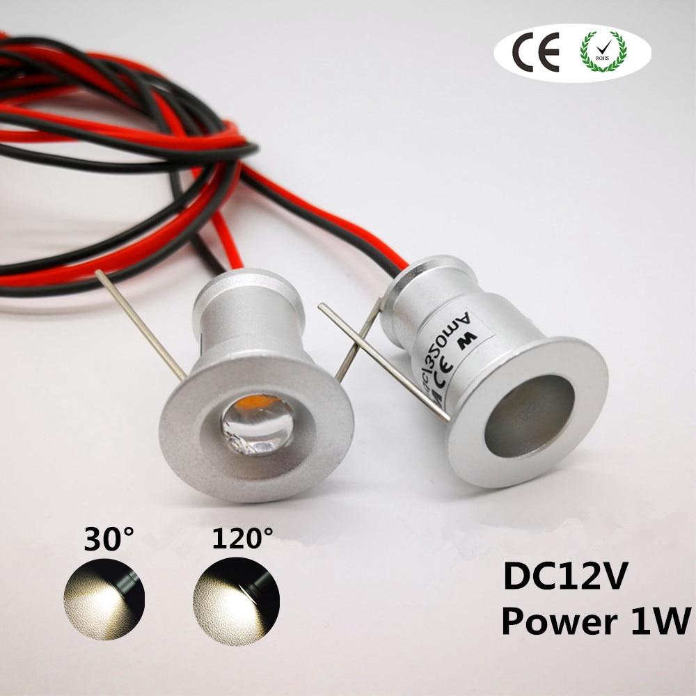1W LED Mini Downlight Ceiling 15mm Cutout Recessed Bedroom Kitchen Spot Light DC12V Spot Lighting 30D/120D Wine Cabinet Lamp CE